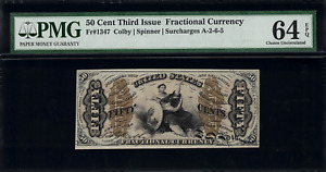 FR-1347 $0.50 Third Issue Fractional Currency - 50 Cents - Graded PMG 64 EPQ