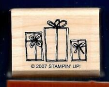 GIFTS PILE Wrapped Presents new Stampin' Up! 2007 Wood Mount CRAFT RUBBER STAMP