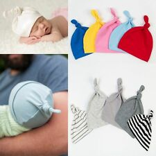 Cotton Beanie Newborn Baby Knotted Hat Boys Girls Soft Cap Infant Toddle