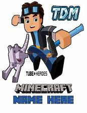 DanTDM Diamond Minecart TubeHeroes Custom t-shirt Personalize Minecraft YOUTUBE
