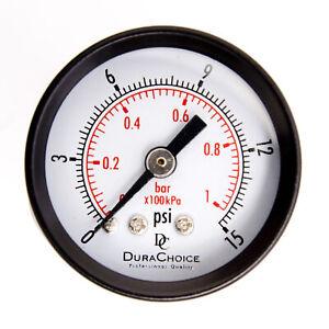 """1-1/2"""" Utility Pressure Gauge - Blk.Steel 1/8"""" NPT Center Back 15PSI"""