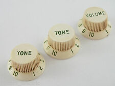 Relic AGED PARCHMENT Genuine FENDER STRATOCASTER KNOBS with Oxidised Green Font