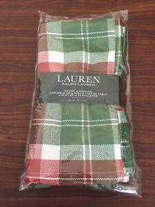 Ralph Lauren Holiday Plaid Cloth Napkins Set Of 4 Cotton Blend