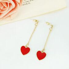 Women Love Heart Earrings Simple Temperament Hook Dangle Earrings i Pair New