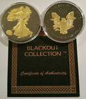American Eagle BLACKOUT Silver Dollar Ruthenium & 24K Gold ASE SAE w/ COA