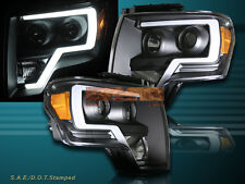 09 10 11 12 13 14 Ford F150 Black LED Strip Plank Style Projector Headlights
