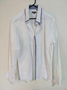 Lucas Como Men's Shirt Size XL White Blue Check Trim Long Sleeve