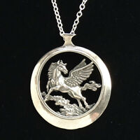 Vintage Sterling Silver Winged Pegasus Horse Pendant Necklace 24 Inches Signed B