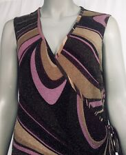 Central Park West New York Womens Large Sleeveless Wrap Dress Sparkly Pre-owned