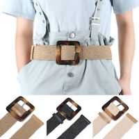 Women Elastic Casual Square Wooden Buckle Straw Belt Braided Woven Waistband New