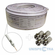 50m CCTV HD TV SKY SATELITE FREEVIEW DIGITAL AERIAL RG 6 COAXIAL CABLE White