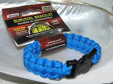 Estate Blue Braided Parachute Cord Survival Bracelet with Black Plastic Clasp
