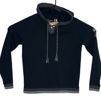 Psycho Bunny Mens Small Black Knit Sweater Lounge Hoodie Sweatshirt Laced Front