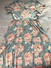 NWT Lularoe 3XL Riley Dress Blue With Pink Floral Print