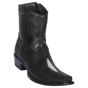 "Men's Los Altos Genuine Stingray Single Stone Ankle Boots Square Toe 6"" Shaft"