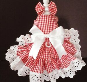 DOG DRESS HARNESS  COUNTRY RED/WHITE CHECK   NEW   FREE SHIPPING