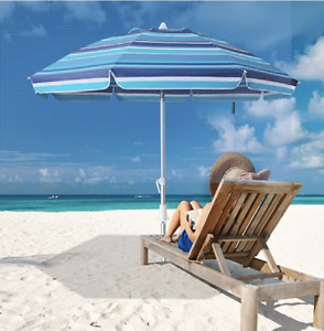 MEWAY 6.5ft Beach Umbrella with Sand Anchor & Tilt Mechanism, Portable UV 50+ Pr