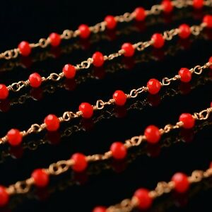 Red Coral Hydro Gemstone Roundel Beaded DIY Jewelry Making Design Rosary Chain