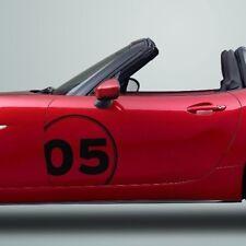Mazda MX5 Miata door panel side graphics decal racing number
