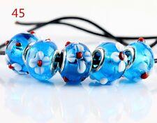 5pcs SILVER MURANO GLASS BEAD fit European Charm Bracelet Jewelry Making [45#]