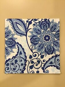 TWO Paper Napkins For Decoupage Blue White Floral Flowers Arts Craft
