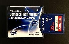 CDA 32 GB Genuine Sandisk SD Refurb + SD/SDHC/SDXC to CF Type II Adapter