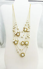 INC International Gold-tone White Bead Multi-layer Necklace Msrp $34.50