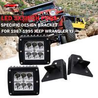 3'' 18W LED Fog Light Kit w/Lower Bumper Specific Bracket For Jeep Wrangler YJ