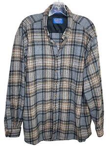 Pendleton mens XL 100% wool shirt gray beige plaid button up board shirt