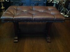 Antique Brown Leather Chesterfield Footstool