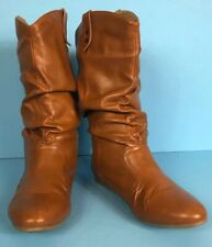 Scrunch Boots US 7-7.5 Cognac Color Vegan Leather Flat Heel Faux Fur Lined