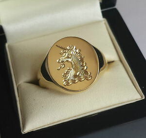 Silver or Gold Signet Ring With Hand Engraved Monogram, Crest or Coat of Arms