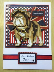 Luxury Hand-Made 'British Bulldog' Birthday Card -Can be Personalised any age