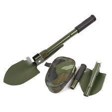 Military Folding Mini Spade Shovel Saw Axe Metal Camping Hiking Tool+Storage Bag