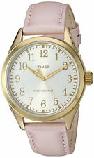 New TIMEX TW2P99100 Women's Main Street Gold-Tone Watch Pink Leather Strap