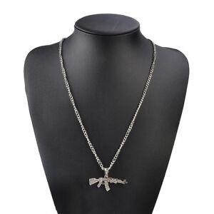 Bling Diamond Mens AK47 Gun Chain Pendant Necklace Punk Cuban Fashion RAP