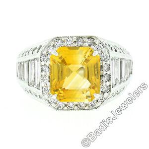 Vintage 18K White Gold 6.95ct GIA Orangy Yellow Sapphire & Diamond Cocktail Ring