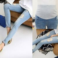 Adjustable Pregnant Women Abdominal Maternity Jeans Denim Pants Belly Trousers