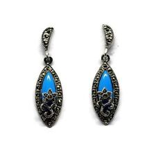 Art Deco Vintage Blue Turquoise Marcasite Dangle Earrings In 925 Sterling Silver