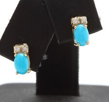 .86 Carat Natural Turquoise and Diamond in 14K Solid Yellow Gold Stud Earrings