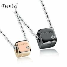 MENDEL Stainless Steel Cross Square Love Couple Pendant Necklace Couples Jewelry