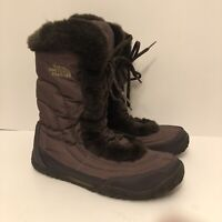 THE NORTH FACE Womens 9.5 Brown Goose Down Puffer Icepick Traction Winter Boots
