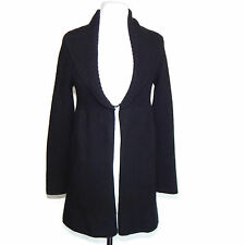 LORD & TAYLOR Cashmere Size Small Black Collared Clasp Cardigan Sweater /9755