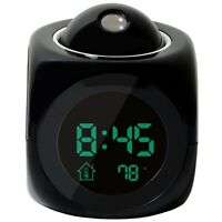 Multi-function Digital LCD Voice Talking LED Projection Alarm Clock Black U2O1