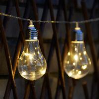 10 LED Solar Powered Edison Bulb String Lights Garden Outdoor Fairy Summer Lamp