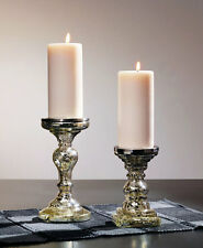 Pillar Candle Holder Silver Mercury Glass Wedding Table Centerpiece Rustic Decor