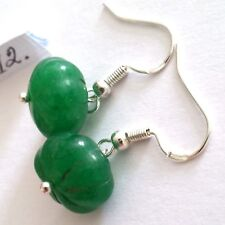 Lovely Pair of 925 Silver Natural Green Emerald Earrings, (A12)