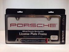 "OEM Porsche ""Porsche"" Insignia Script Logo License Plate Frame Brushed Finish"
