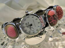 NEW JILZARA Premium Handmade Clay Beads VINTAGE PINK ROSE OVAL Watch