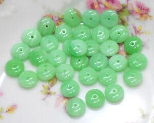 Vintage Glass Beads, Milk Green Czech Spacer saucer Round Chartreuse 4/9mm #84